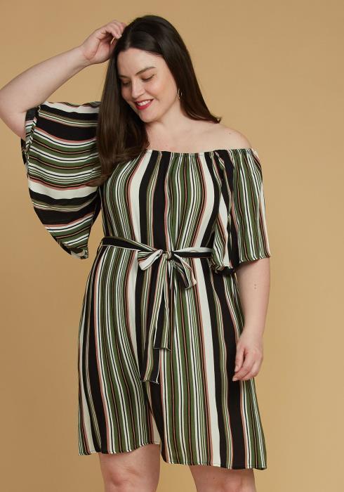 Asoph Plus Size Stripe Bell Sleeve Casual Dress
