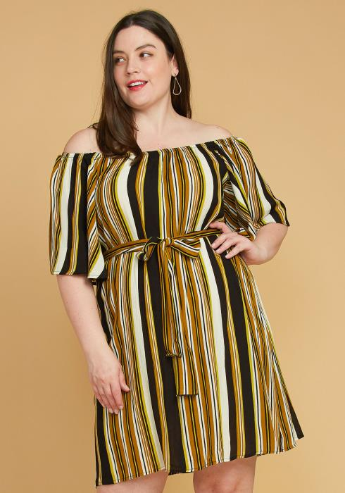 Asoph Plus Size Stripe Bell Sleeve Casual Dress