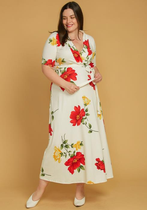 Asoph Plus Size Short Sleeve Floral Wrap Maxi Dress