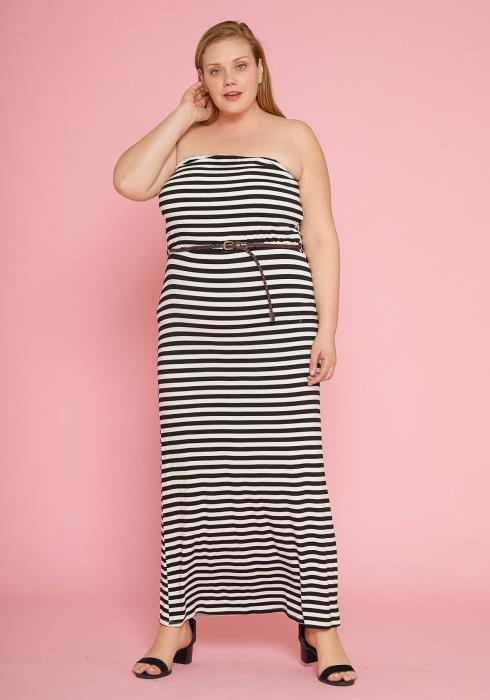 Asoph Plus Size Stripe Strapless Maxi Dress With Braided Belt