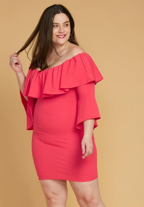 Plus Size Ruffle Off Shoulder Party Dress