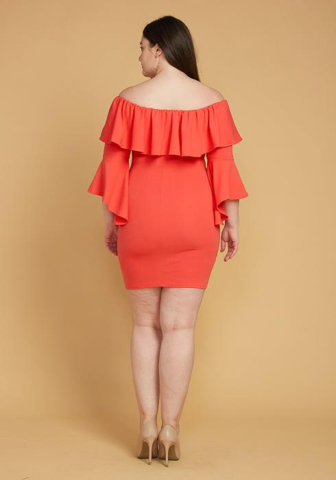 Plus Size Ruffle Off Shoulder Party Dress
