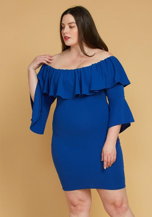 Asoph Plus Size Ruffle Off Shoulder Party Dress