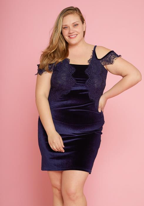 Asoph Plus Size Lace Trim Velvet Open Shoulder Dress