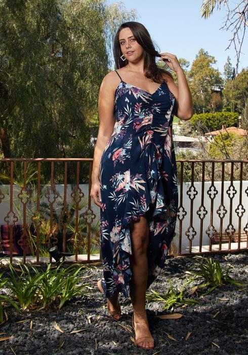 Asoph Plus Size Floral Hi-Lo Slit Maxi Dress