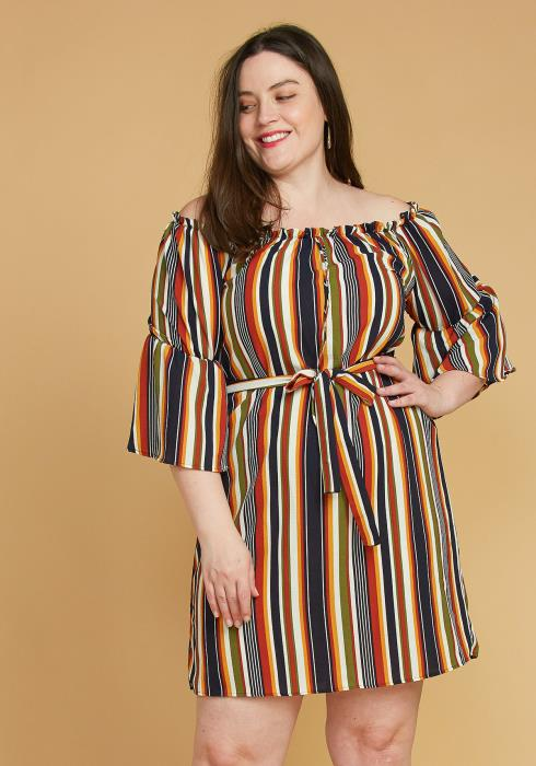 Asoph Plus Size Stripe Off Shoulder Casual Dress