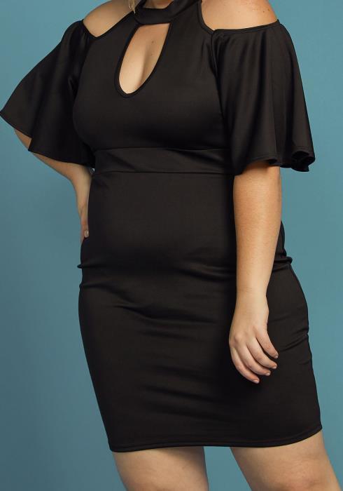 Plus Size Shoulder Cutout Mock Neck Dress