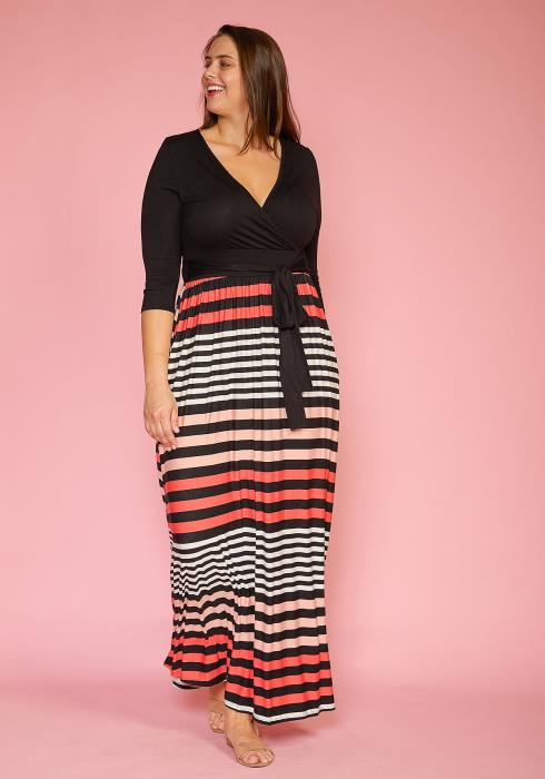 Plus Size Multi Stripe Contrast Wrap Dress