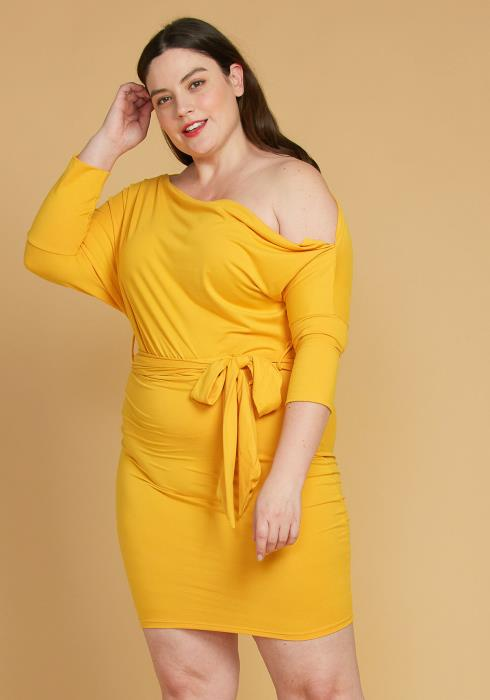 Asoph Plus Size One Shoulder Tie Waist Dress
