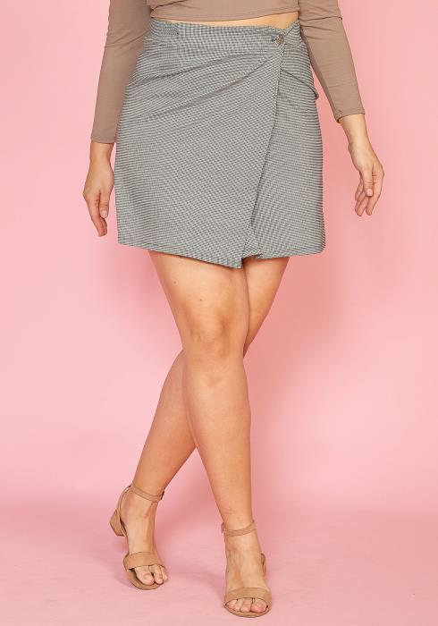 Asoph Plus Size Houndstooth Mini Wrap Skirt