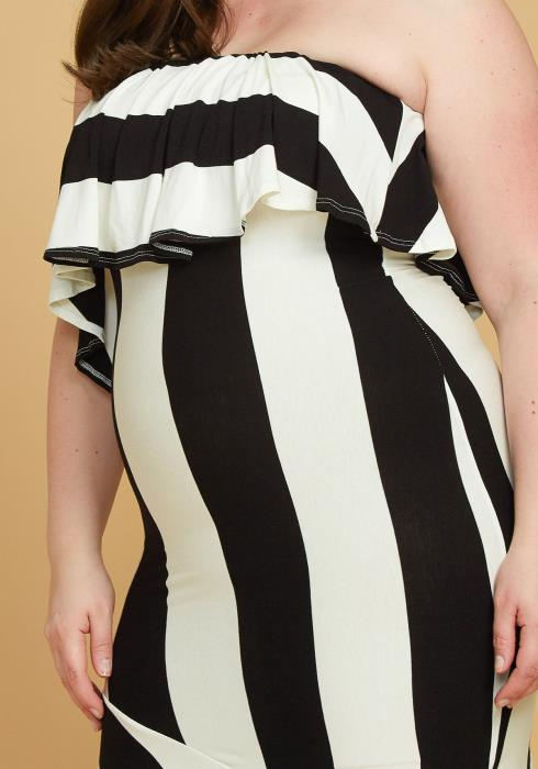 Asoph Plus Size Black White Asymmetrical Tube Top Dress