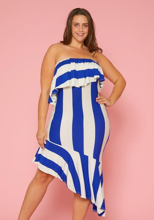 Asoph Plus Size Stripe Tube Top Dress