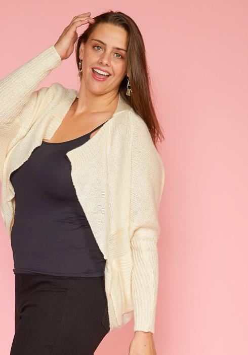 Asoph Plus Size Open Front Dolman Sleeve Cardigan