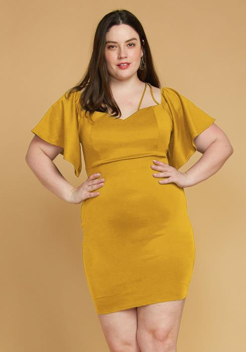 Plus Size Strappy Bell Sleeve Cocktail Dress