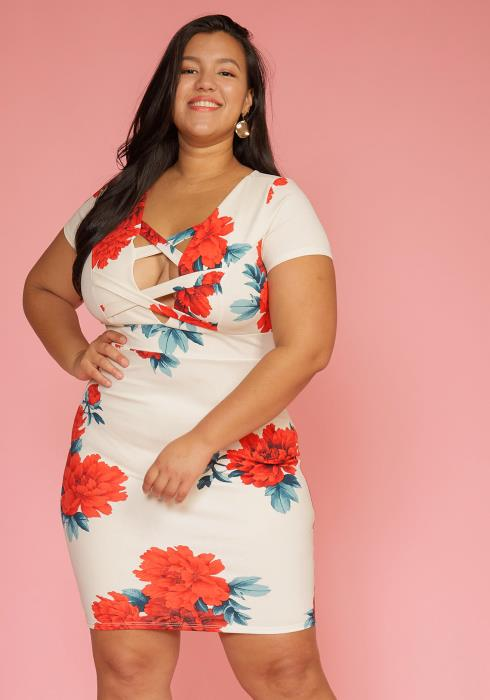 Asoph Plus Size Cross Front Floral Bodycon Dress