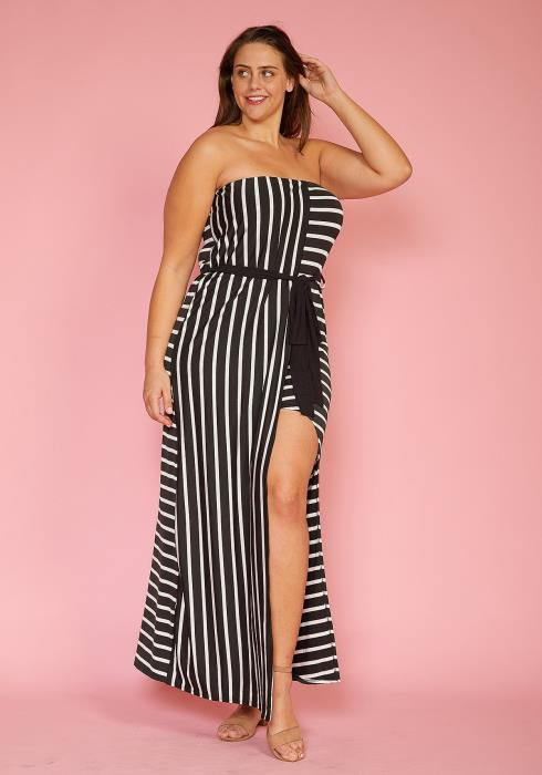 Asoph Plus Size Stripe Tube Top Asymmetrical Maxi Dress