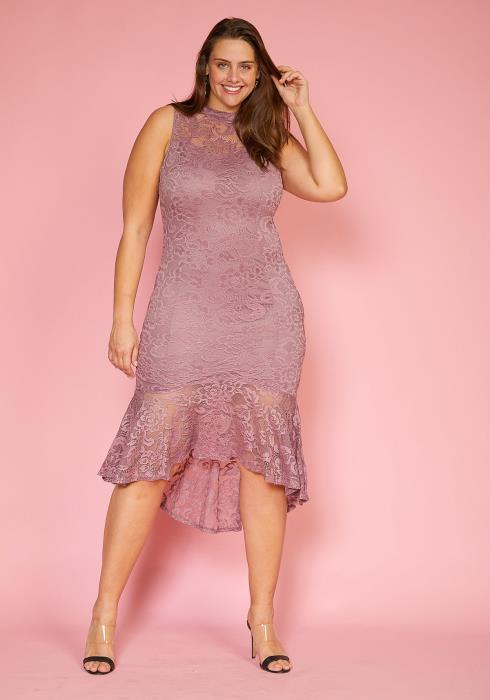 Asoph Plus Size Sleeveless Lace Hi-Lo Flared Hem Dress