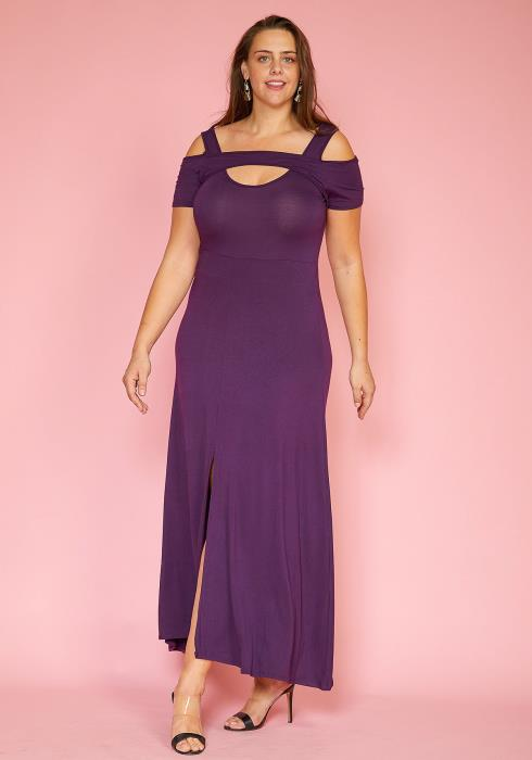 Asoph Plus Size Keyhole Front Slit Hem Maxi Dress