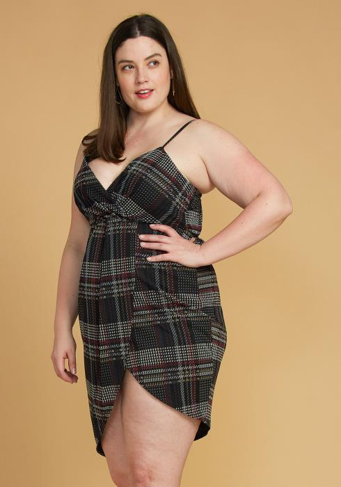 Asoph Plus Size Plaid Wrap Dress