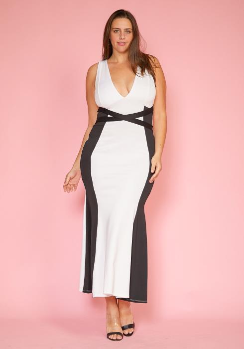Asoph Plus Size V-Neck Sleeveless Color Contrast Maxi Mermaid Dress