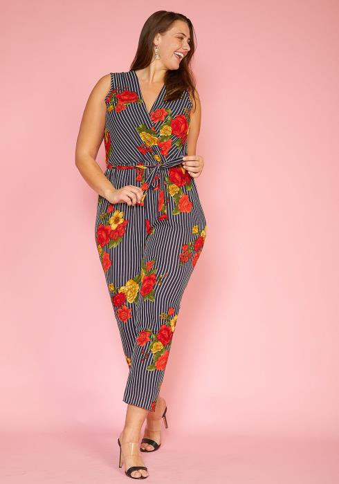 Asoph Plus Size Floral Stripe Sleeveless Cropped Jumpsuit