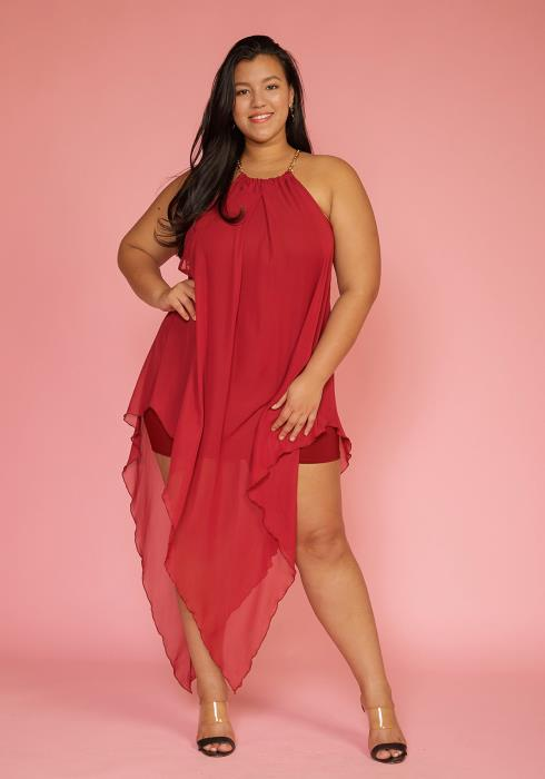 Asoph Plus Size Chiffon Haltered Asymmetrical Dress