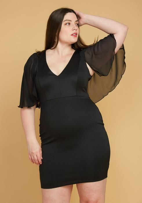 Asoph Plus Size Chiffon Cape Shoulder Dress