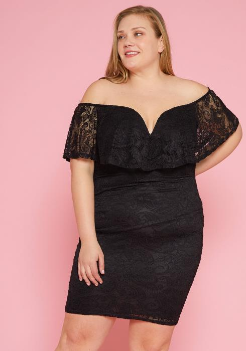 Asoph Plus Size Lacey Off Shoulder Bodycon Dress
