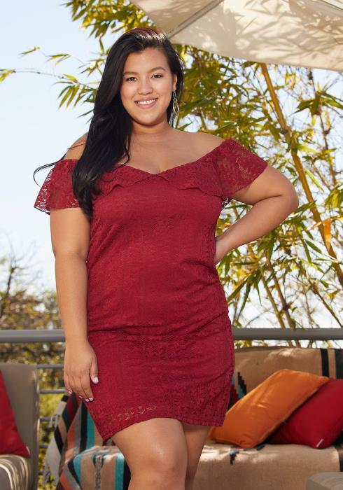 Asoph Plus Size Off Shoulder Lace Dress