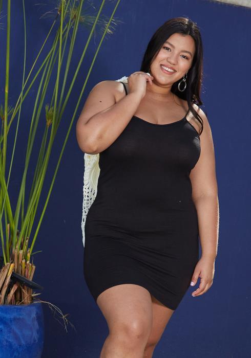 Asoph Plus Size Spaghetti Strap Tank Top Dress