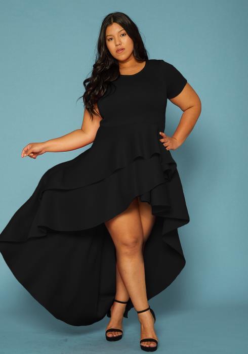 Asoph Plus Size Hi-Lo Layered Ruffle Dress