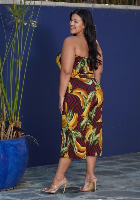 Asoph Plus Size Banana Print Jumpsuit