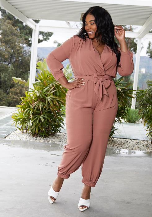 Aposh Plus Size Surplice Jumpsuit