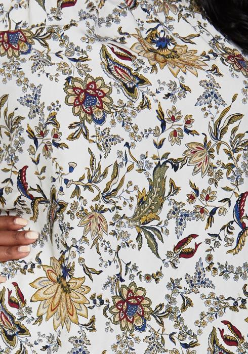 Asoph Plus Size Floral Print Off Shoulder Blouse