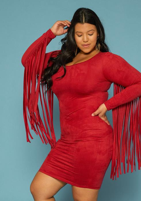 Asoph Plus Size Fringe Sleeve Faux Suede Dress