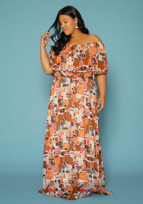 Asoph Plus Size Abstract Print Off Shoulder Maxi Dress
