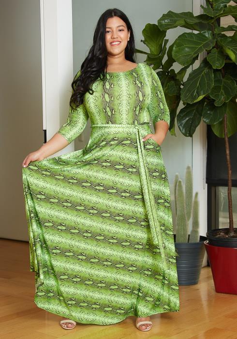Asoph Plus Size Snake Maxi Dress