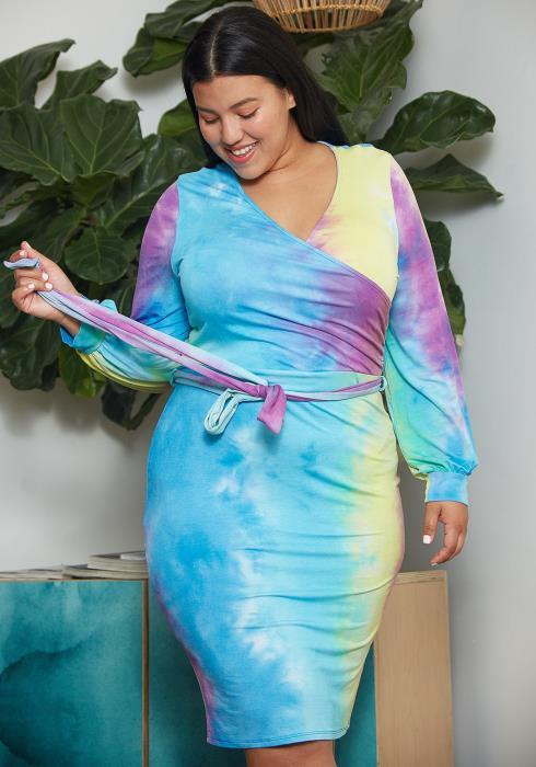 Asoph Plus Size Tie Dye Wrap Dress