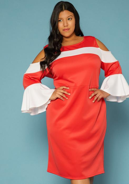Asoph Plus Size Cold Shoulder Ruffle Sleeve Dress