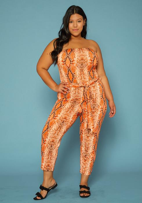 Asoph Plus Size Snake Print Tube Top Jumpsuit