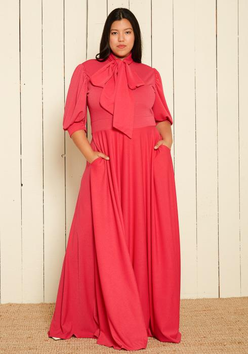 Asoph Plus size Tie Neck Puff Sleeve Maxi Dress