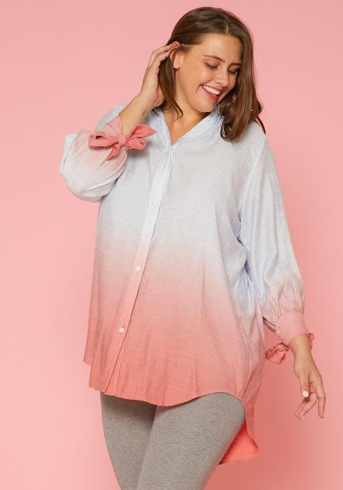 Asoph Plus Size Ombre Button Up Shirt