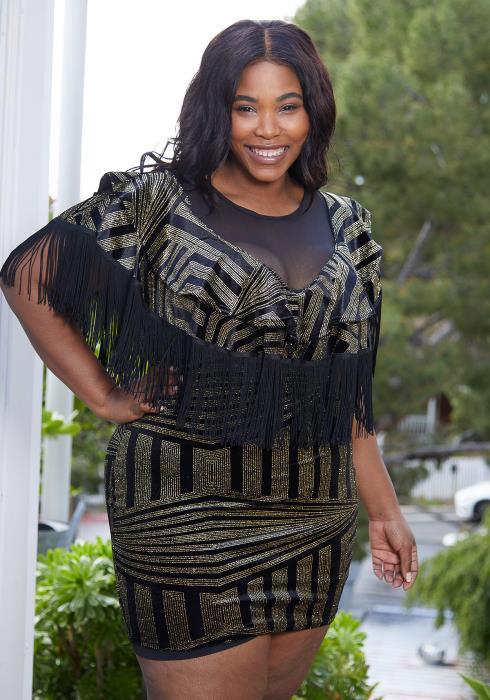 Asoph Plus Size Gold Geo Print Velvet Bodycon Dress