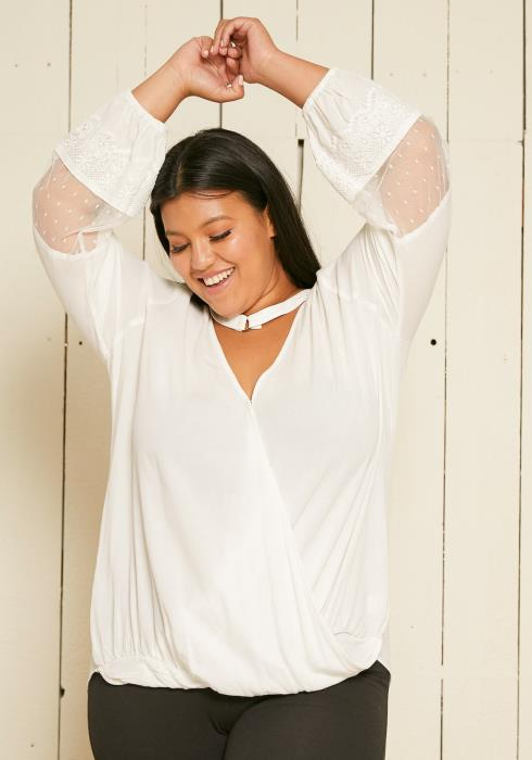 Asoph Plus Size Choker Neck Wrap Blouse
