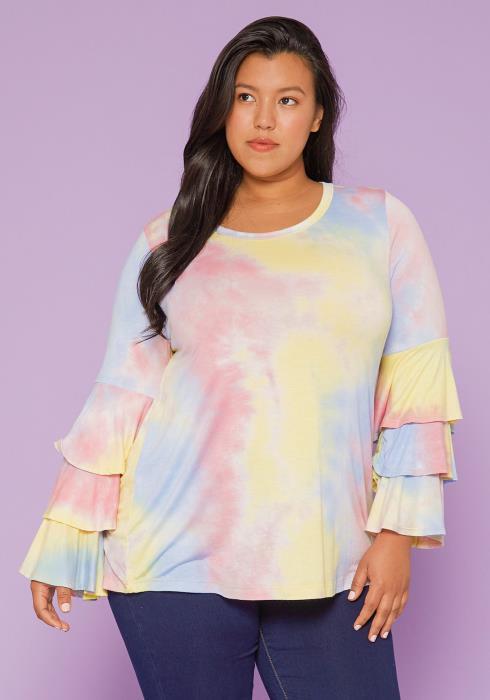 Asoph Plus Size Tie Dye Blouse