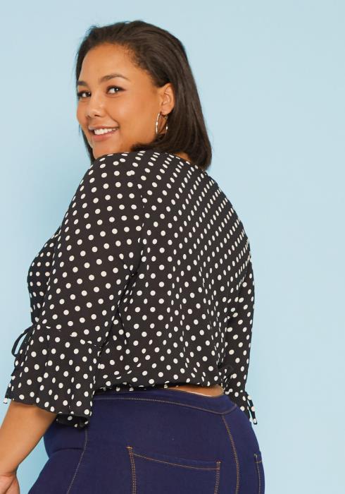 Asoph Plus Size Polka Dot Wrap Blouse