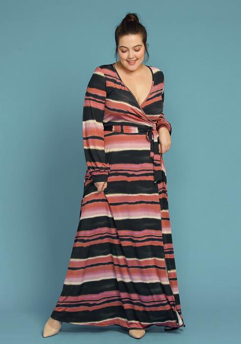 Asoph Plus Size Color Stripe Maxi Wrap Dress
