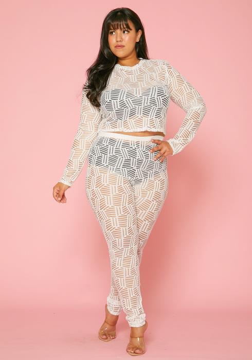 Asoph Plus Size Lace Crop Top & Pants Set