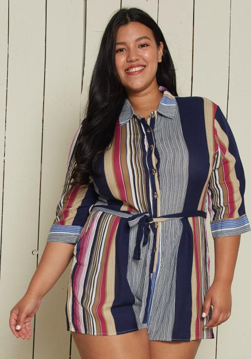 Asoph Plus Size Button Up Romper