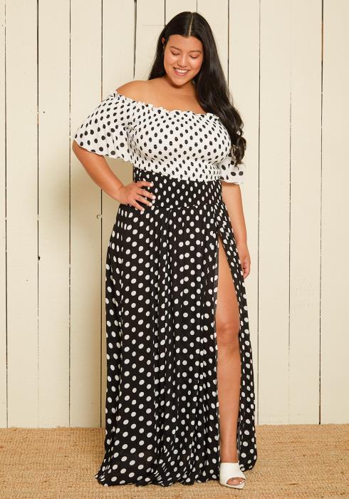 Asoph Plus Size Polka Dot Crop Top & Skirt Set